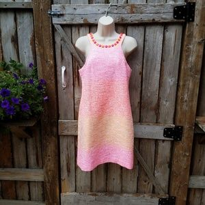 Trina Turk 6 Bright Pink Orange Sleeveless Dress